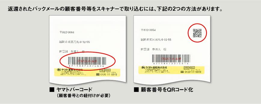 顧客番号のスキャナー取り込み イメージ図