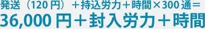 発送(120 円)+持込労力+時間×300通 = 36,000円+封入労力+時間