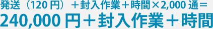 発送(120 円)+封入作業+時間×2,000通 = 240,000円+封入作業+時間