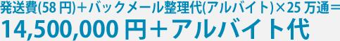 発送費(58円)+バックメール整理代(アルバイト)×25万通 = 14,500,000円+アルバイト代